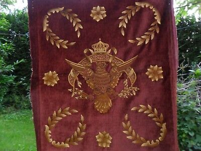 Antique French brown velvet hand embroidered eagle.C1890.