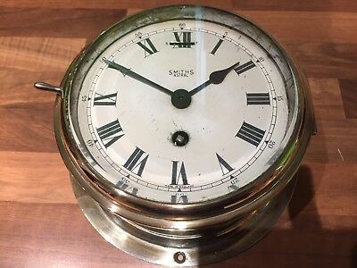 Vintage Brass Ships Clock Smiths Astral Maritime Marine Nautical Boat