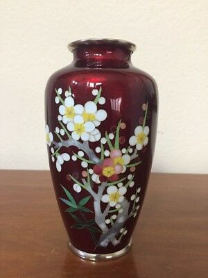 Vintage Chinese Red Ox Blood Foil Ginbari Silver Cloisonne Vase Flowers EXCLNT