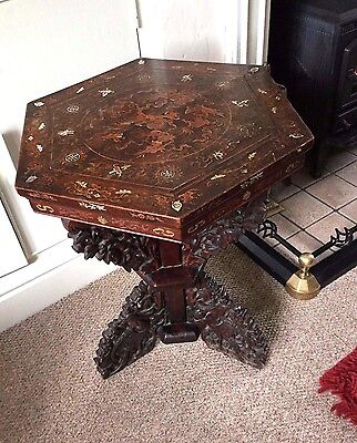 CHINESE 19th CENTURY HARDWOOD INLAID BEAUTIFULLY CARVED SIDE HALL TABLE