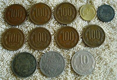 30 Different Chile Coins some Silver