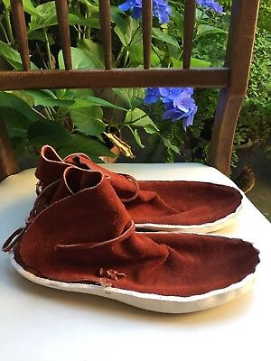 TRAditional NAVAJO INDIAN NATIVE RUST LEATHER TIE ANKLE MOCCASINS Men's 10.5 E