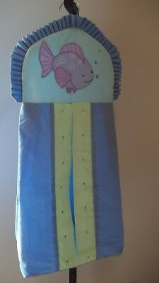 Unisex Blue Yellow Purple Fishy Aquarium themed Diaper Holder Caddy Hanger