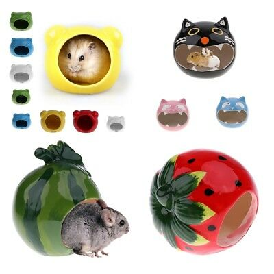 Ceramic Hamster Cooling Bed Hideout Nest House Toy Home & Bath for Small Animals