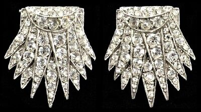 Antique ART DECO c1920 Sterling Silver Faux Diamond Paste Pair Dress Clips