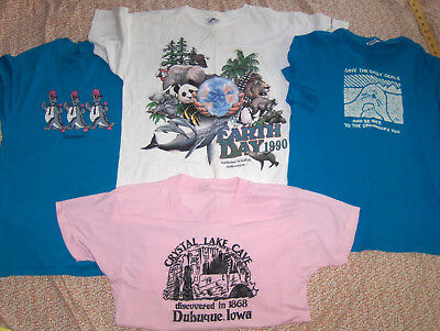 Large 4 T-shirt lot Vintage. Earth Day. National Wildlife Federation. Ecology.