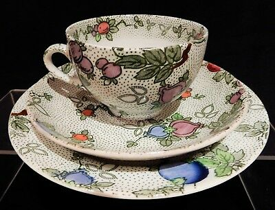 """Leighton Pottery B & L B """" Pomegranate"""" Trio, cup, saucer, plate"""