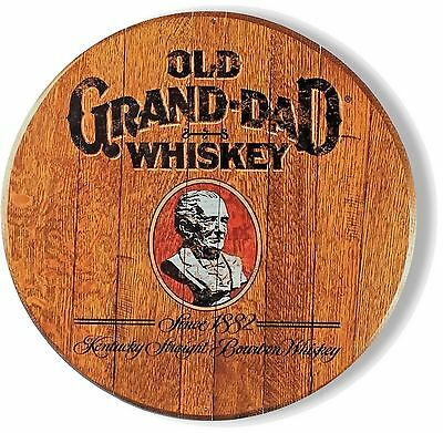 Old Grand Dad Whiskey - Barrel Top Design - Metal Sign - 14 inch Diameter