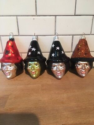 PATRICIA BREEN Halloween Witch Ornament Lot Of 4 Sisters