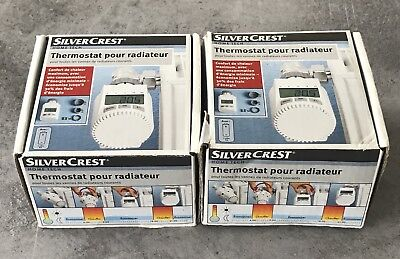 Lot 2 Thermostat Programmable Universel Radiateur Lcd Silver Crest
