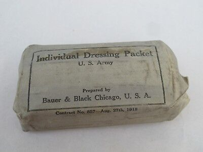 100 year old WWI doughboy U.S. Army individual Field Dressing packet Aug 27 1918