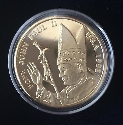 Vatican Pope John Paul II Visit in USA 1993 Gold Medal Coin