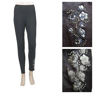 M/&S GREY MARL LEGGINGS TEXTURED FULL LENGTH HIGH RISE LEGGINGS 6-24