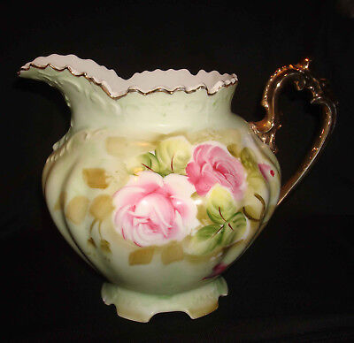 "Vintage Lefton Green Heritage Roses Hand Painted 40oz 6 ½"" Handled Water Pitcher"