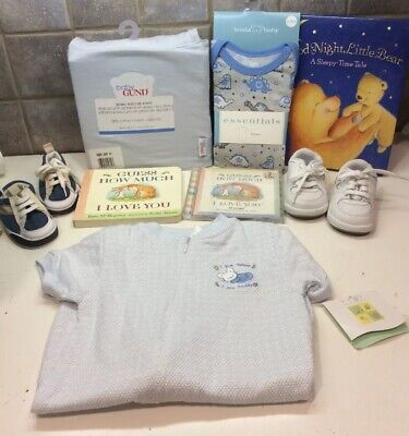 Lot Of 7 Baby Boy-New  Gund Blue Crib Sheet, 2 Pairs Shoes,new Gown, 2 Books, Cd