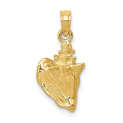 14k Yellow Gold 3-D Conch Shell Pendant. (0.7INx0.4IN)