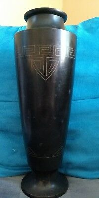 Vintage Art Deco Bronze Vase Urn Egyptian Motif 11 Inch Unusual!