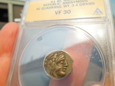 ANACS Ancient Coin Roman Republic Hercules Quadrans 91 BC Very Very Rare Coin !!