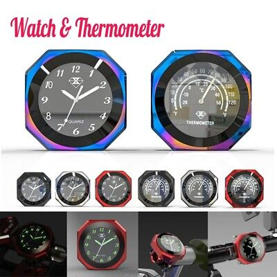 CNC Motorcycle Bike Handlebar Clock /Thermometer Temp Glow Watch Dial Waterproof