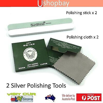 Silver Polishing Cloth & Stick for Jewelry Cleaning Anti-Tarnish Clean Tool x2