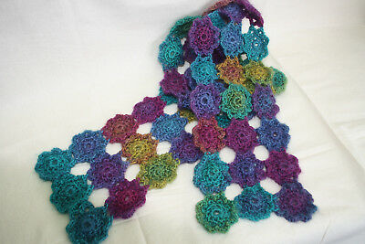 Crochet Kit- Delicate daisy scarf- yarns and pattern included-very easy.