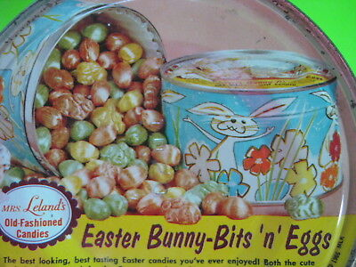 🔥 VINTAGE 1960's ADORABLE EASTER CANDY TIN with RABBITS BUNNIES SPRING FLOWERS