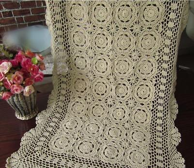 Vintage Crochet Lace Table Runner Dresser Scarf Ecru Rectangle Doily 19x35inch