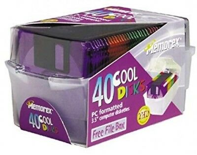"New Memorex 3.5"" Diskettes 40 Cool Colors 2HD PC Floppy Disks w/File Box Sealed"