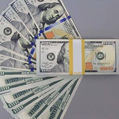 100 Sheets 100 Dollar Cash Bills Practice Training Currency Paper Money Gift