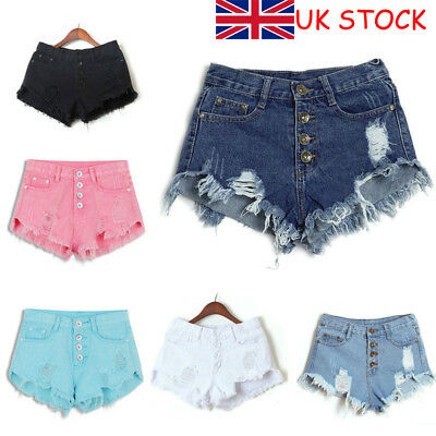 Ladies Vintage Ripped Womens High Waisted Denim Shorts Jeans Hot Pants Size 4-12