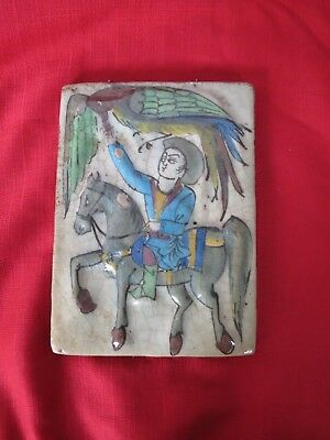 Antique Persian Central Asian Qajar Molded Tile Horse rider hunting scene