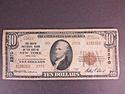 $10 Usa 1929 Chase National Bank New York Brown Seal Note