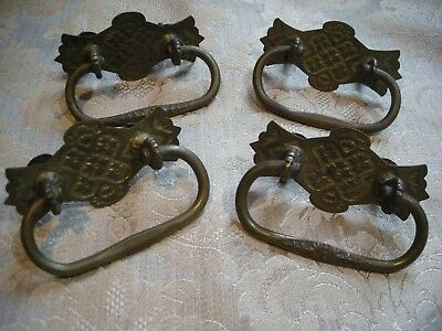 Four (4) Antique Victorian Eastlake Brass Drawer Pull Handles (Lot T-26)