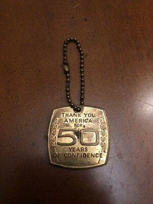 Vintage THANK YOU AMERICA for 50 YEARS of CONFIDENCE Keychain CHEVROLET