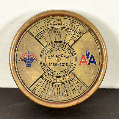 Vintage American Airlines Promotional 50-Year 1969-2018 Calendar Paperweight