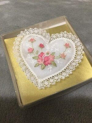 VTG Alba Swiss Made Heart Miniature White Pillow Embroidered Pink Flowers 1989