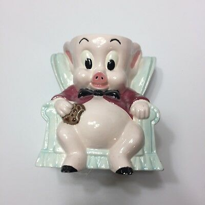 "1975 Vintage 10"" Cookie Jar Porky Pig Chair Warner Bros Duncan No Ceramic Lid"