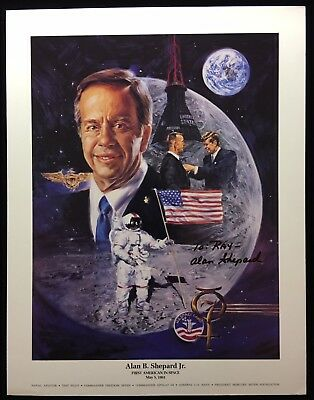 Alan Shepard  Pre-Printed Signature / Auto Penned 8.5 X 11 Color Litho To: Ray
