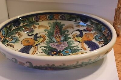 K. Nikolaou Hand Painted Pottery Oval Bowl Very Colorful