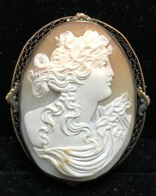 Large Antique Victorian Sterling Silver Carved Shell Cameo Brooch/pin