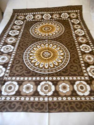 Vintage Retro 1960S 1970's Printed Rayon Table Cloth Brown Yellow Flower Power