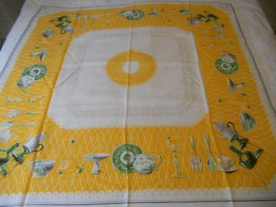 Vintage Retro 1950S Printed Rayon Table Cloth Yellow Grey Kitchen Ware Utensils