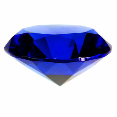 New 30mm Blue Crystal Diamond Shape Paperweight Gem Display Gift Ornament