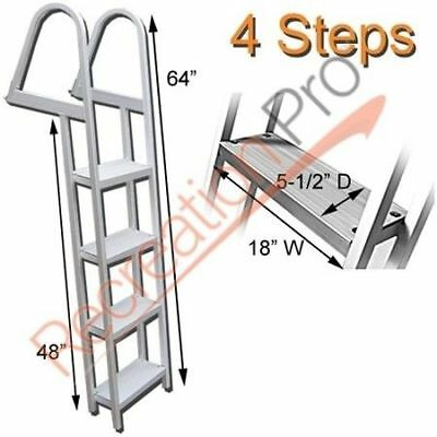 Pontoon Boat Heavy Duty Aluminum 4 Step Removable Boarding Ladder Al-A4