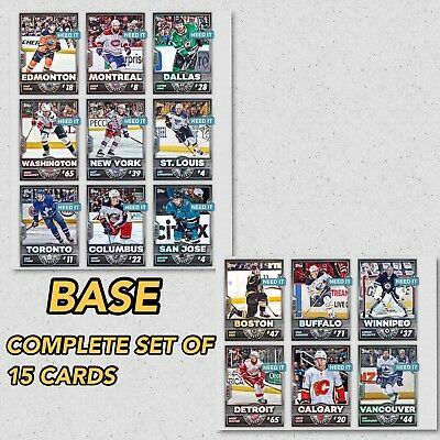2018 TOPPS IS HOCKEY BASE COMPLETE SET OF 15 CARDS Topps NHL Skate Digital Card