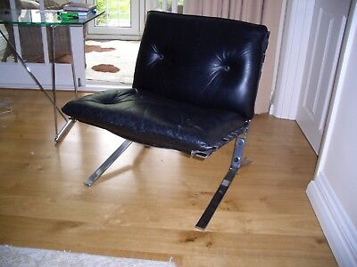 """A pair of antique retro genuine Olivier Mourgue  """"Joker"""" leather & chrome chairs"""