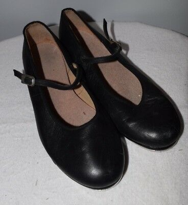 Bloch Women's Size 7 1/2 Techno Tap #2T Black Leather Shoes Mary Jane Heel #3H
