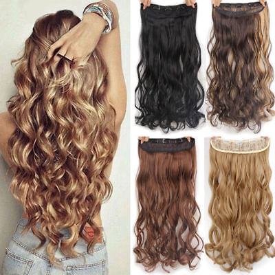 """24"""" Thick Wavy/Curly Clip In on Hair Extensions 3/4 Full Head 5 Clips Hairpieces"""