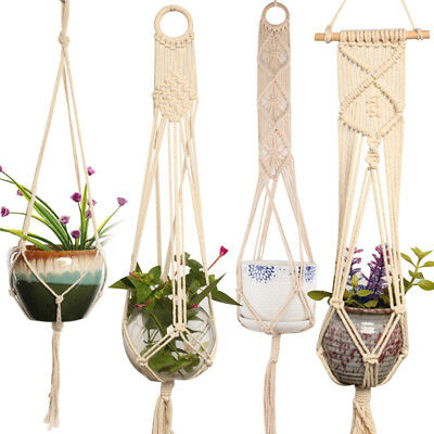 Modern Plant Hanger Garden Flower Holder Legs Hanging Macrame Rope Basket UK