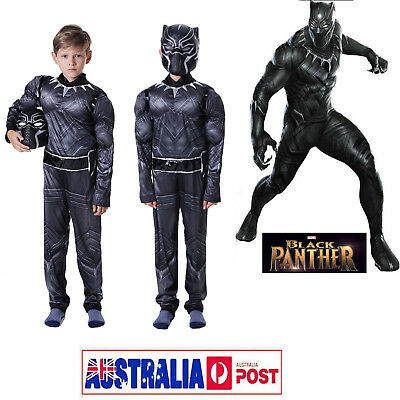 Kids Boys Black Panther  Cosplay Party Superhero Book Week Fancy Dress Costume